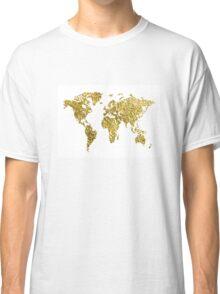 gold foil world map Classic T-Shirt