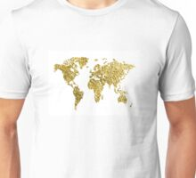 gold foil world map Unisex T-Shirt