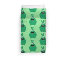 Crazy funny monsters in green Duvet Cover