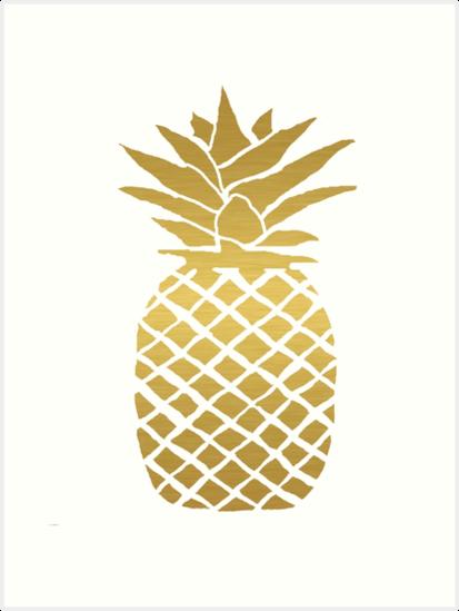Quot Gold Foil Pineapple Quot Art Prints By Ahclock Redbubble