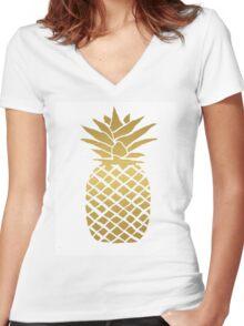 gold foil pineapple Women's Fitted V-Neck T-Shirt