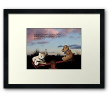 Trevor and Brian in seesaw calamity.... Framed Print