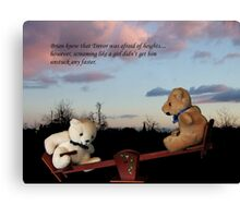 Trevor and Brian in seesaw calamity.... Canvas Print
