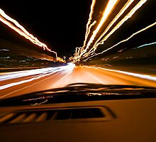The speed of light - drive through the night by JEPhotography