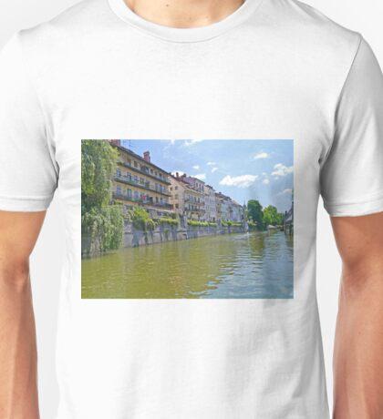Homes along the Ljubanica River, Ljubljana, Slovenia Unisex T-Shirt