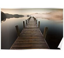 Coniston jetty on a misty calm morning Poster