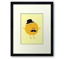 Funny Orange with Mustache Framed Print