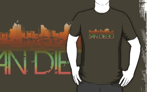 San Diego Skyline T-shirt Design by FlagSilhouettes