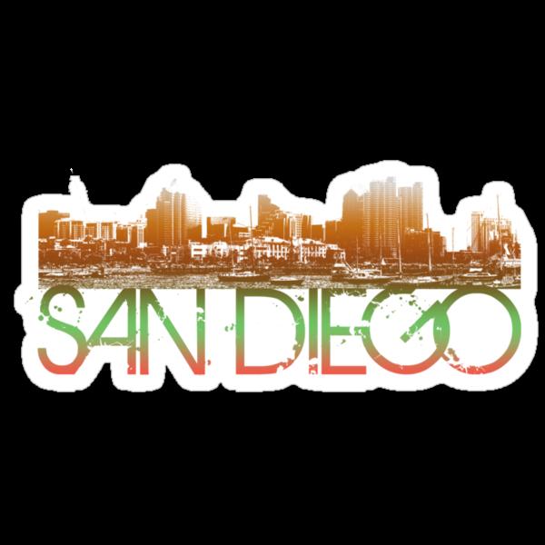 San Diego Skyline T-shirt Design by FlagSilhouettes