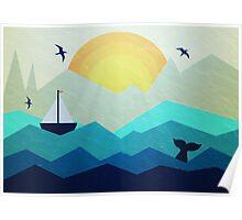 Sailing Boat at Sunrise Poster