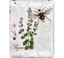 Shabby Chic Thyme herb Bumble Bee illustration art iPad Case/Skin