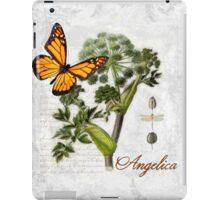 Cottage style Angelica herb Butterfly Botanical illustration art iPad Case/Skin
