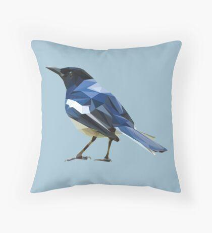 Blocky Blue Bird Throw Pillow