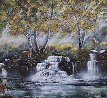 Stags by a waterfall by Joe Trodden