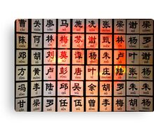 Some Chinese Surnames Canvas Print