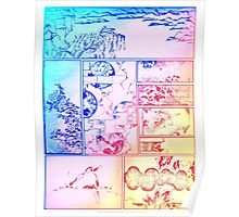 Rainbow Asian Scroll Art Collage Bright Blue Pink Birds Yellow Red Flower Back to School Poster