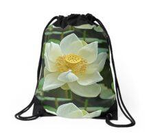 Spiritual Kloth White Lotus by Kordial Orange Drawstring Bag