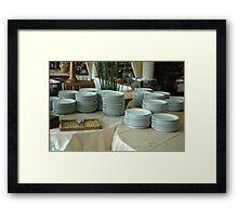 stack of white plates Framed Print