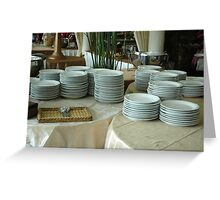 stack of white plates Greeting Card