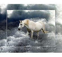 Fantasy White Horse & Ocean Surf Poster Photographic Print
