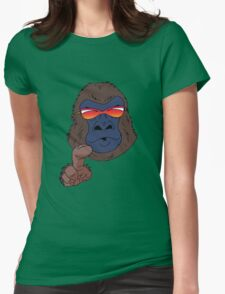 Cool gorilla with red sunglasses  Womens Fitted T-Shirt