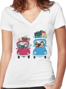 Road Meeting Women's Fitted V-Neck T-Shirt
