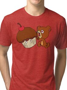 Dear cupcake! Beware, the teddy! Tri-blend T-Shirt