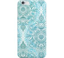Turquoise Blue, Teal & White Protea Doodle Pattern iPhone Case/Skin