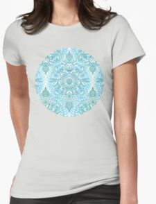 Turquoise Blue, Teal & White Protea Doodle Pattern T-Shirt