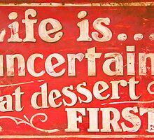 Funny cafe dessert sign by Johan Larson