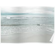 Calming sea landscape in cool blue tones Poster