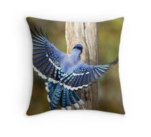 Wings Of Blue / Bluejay Throw Pillow