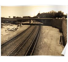 Railroad Tracks, Kansas City Tilt-Shift, Sepia Poster