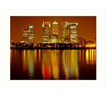 London Skyline Colors - Canary Wharf, north Greenwich Art Print