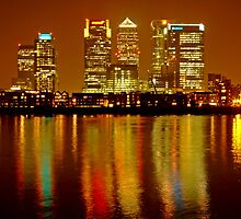London Skyline Colors - Canary Wharf, north Greenwich by DavidGutierrez