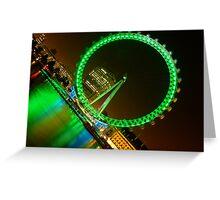 London Eye in Green at Night Greeting Card