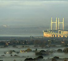 View from Almondsbury, misty morning, Severn Bridge by buttonpresser