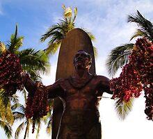 Duke Kahanamoku Statue in Waikiki by Natalie  Markova