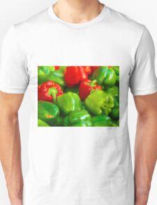 Green and Red Bell Peppers Tilt Shift Unisex T-Shirt