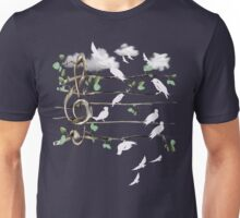 Musical Note Birds - white Unisex T-Shirt