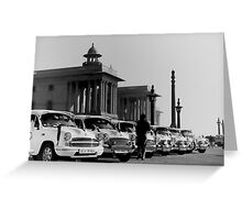 new delhi. old cars. india Greeting Card