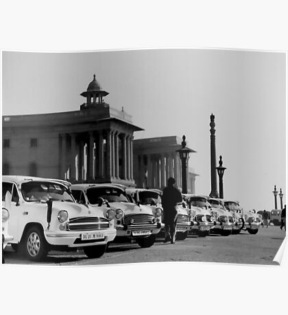 new delhi. old cars. india Poster