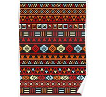 Aztec Influence Ptn IV Orange Red Blue Black Yellow Poster