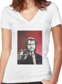 Vincent Vega Women's Fitted V-Neck T-Shirt