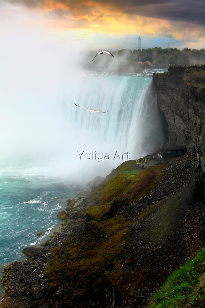 Sunset on Niagara Falls by Yuliya Art