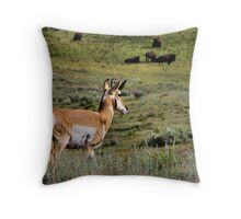 Pronghorn with Bison - Yellowstone National Park Throw Pillow