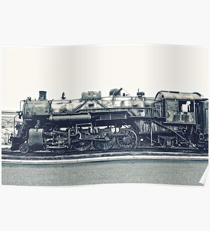 Steam Locomotive in Black and White Poster
