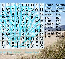 Beach Word Search Puzzle with a message. by Esther's Art and Photography