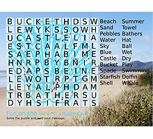 Beach Word Search Puzzle with a message. Photographic Print