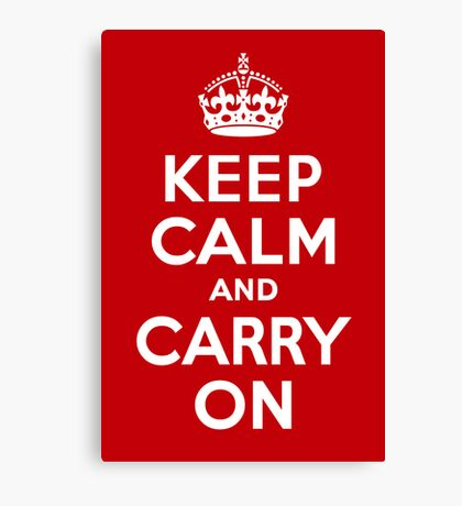 Keep Calm & Carry On - Red Canvas Print